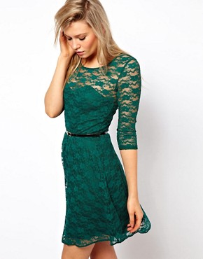 Image 1 of ASOS Skater Dress In Lace With 3/4 Sleeve