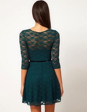 Image 2 of ASOS Skater Dress In Lace With 3/4 Sleeve