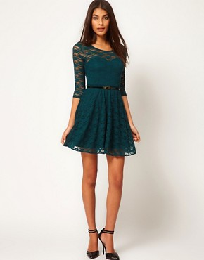 Image 4 of ASOS Skater Dress In Lace With 3/4 Sleeve