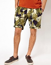 Denim Demon Shorts Large Pockets Military Camo Print