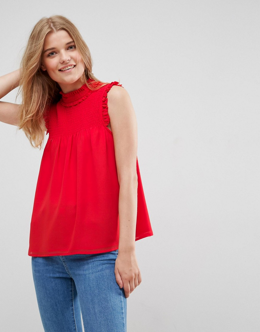 ASOS High Neck Blouse with Shirred Bib - Red