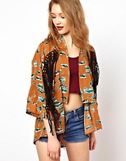 Viva Vena Pasadena Kimono In Vintage Western Print