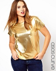 ASOS CURVE Exclusive T-Shirt In Gold Foil