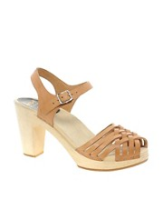 Swedish Hasbeens Braided Natural Sky High Sandals