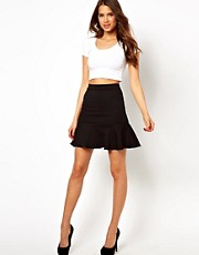 TFNC Mini Skirt With Frill Hem In Textured Jersey