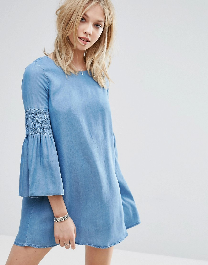 Mango Denim Flute Sleeve Smock Dress - Blue