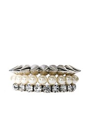ASOS Pearl Spike Stone Bracelet Pack
