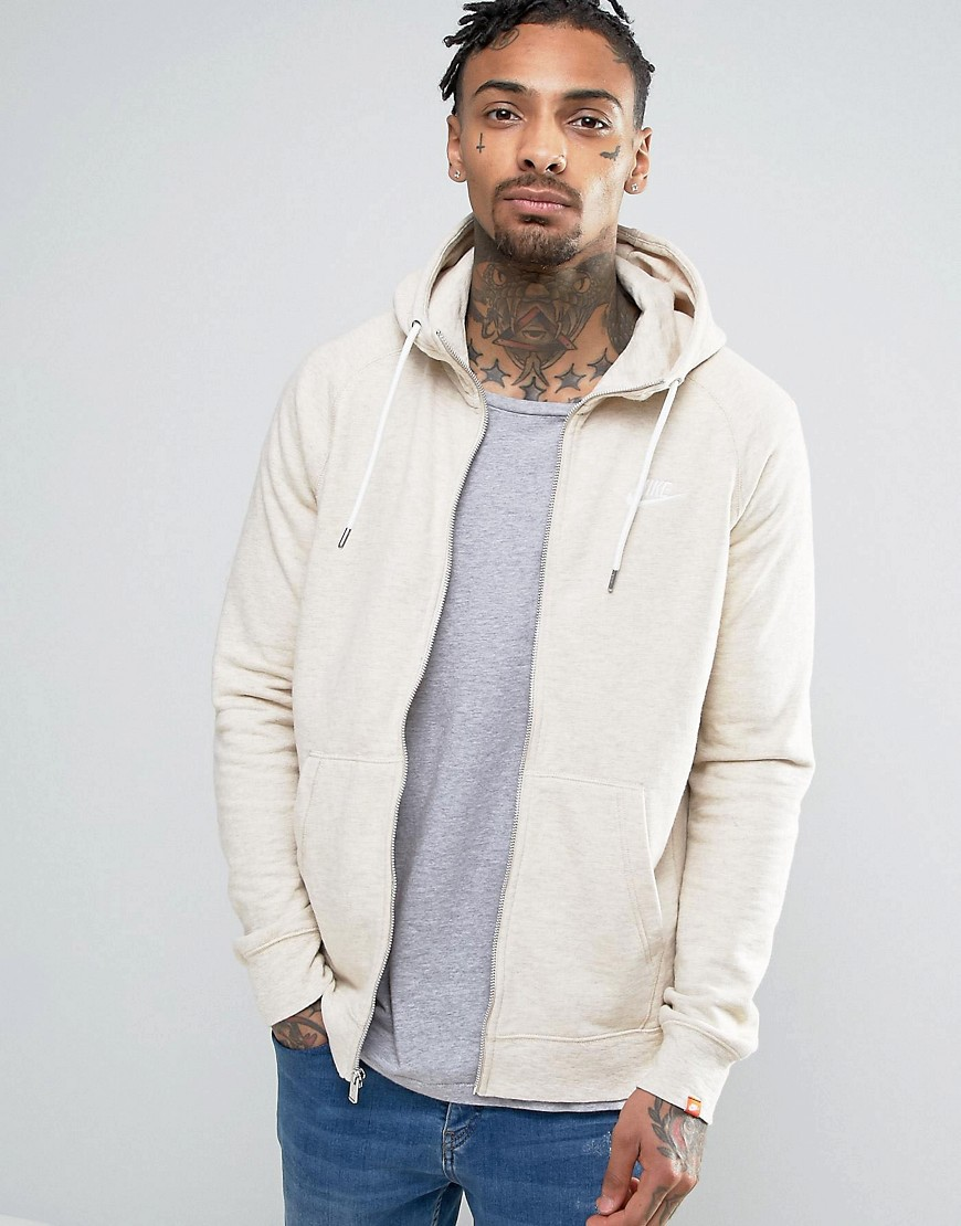 Nike Zip-up Hoodie With Embroidered Logo In Beige 805057-141 - Beige