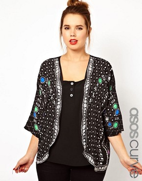 Image 1 ofASOS CURVE Jacket With Jewel Placement