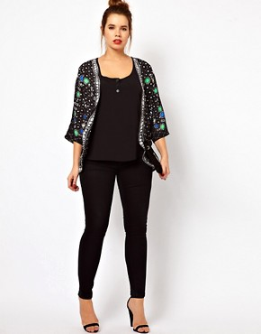 Image 4 ofASOS CURVE Jacket With Jewel Placement