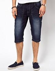 Crosshatch Denim Shorts