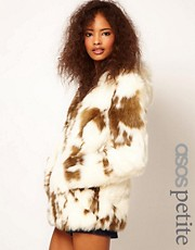 ASOS PETITE Faux Fur Coat With Zip Front