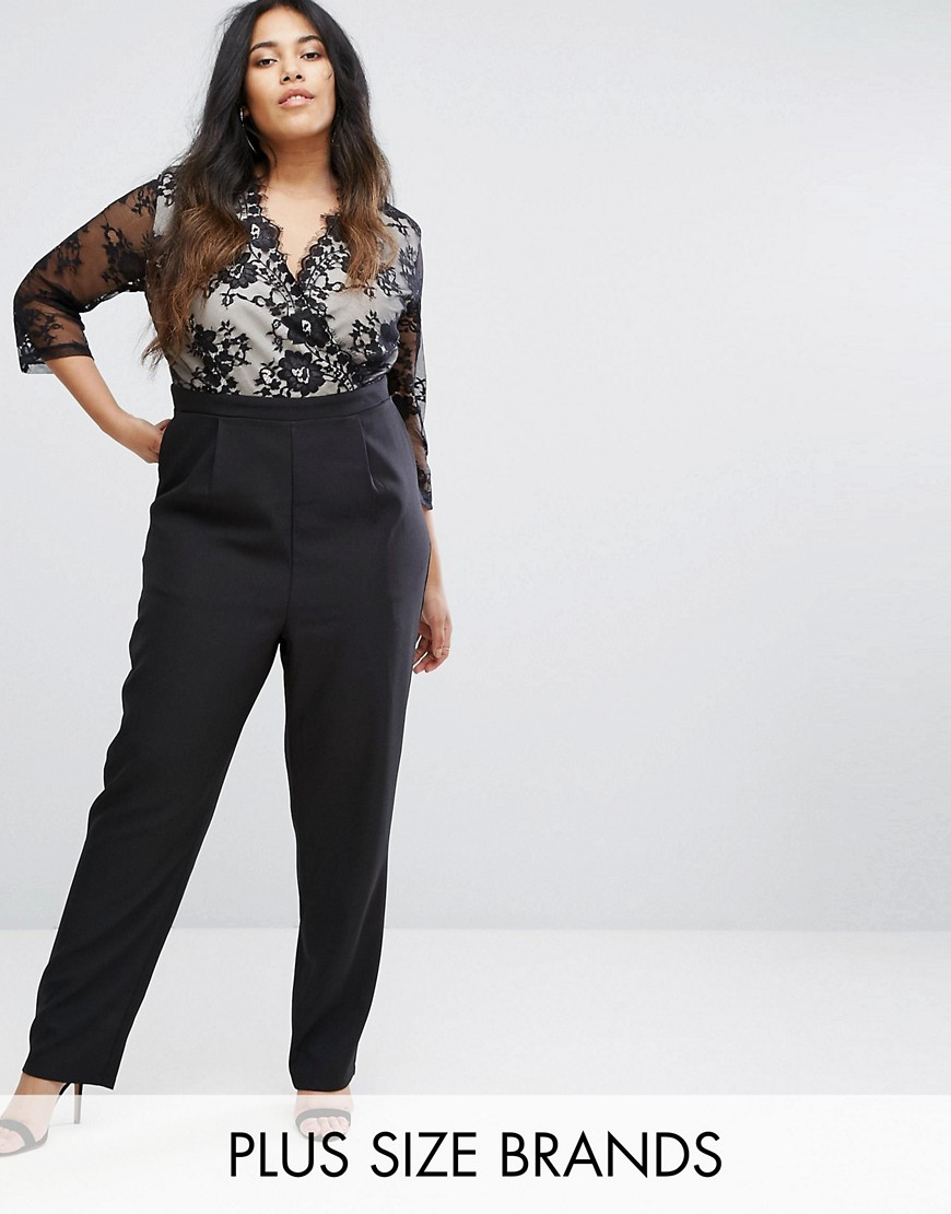Little Mistress Plus Lace Sleeve Jumpsuit - Black