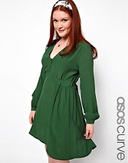 ASOS CURVE Tea Dress With Button Detail