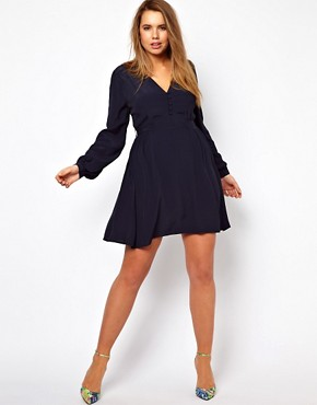 Image 4 ofASOS CURVE Tea Dress With Button Detail