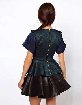 Image 2 ofThree Floor Sensation Top With Peplum And Jewel Embellishment