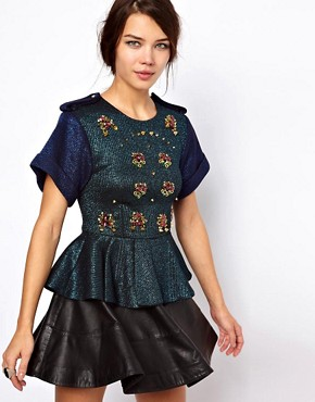 Image 1 ofThree Floor Sensation Top With Peplum And Jewel Embellishment
