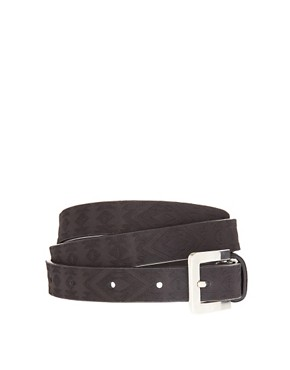 Image 1 of ASOS Aztec Embossed Skinny Waist Belt