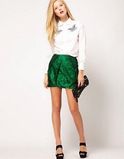 ASOS Premium Folded Mini Skirt in Spot Print