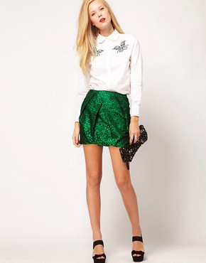 Image 1 ofASOS Premium Folded Mini Skirt in Spot Print