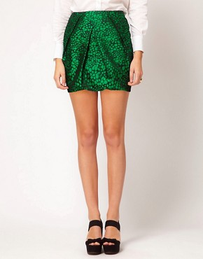 Image 4 ofASOS Premium Folded Mini Skirt in Spot Print