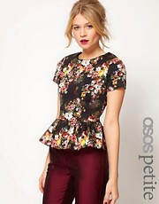 ASOS PETITE Exclusive Winter Floral Peplum Top