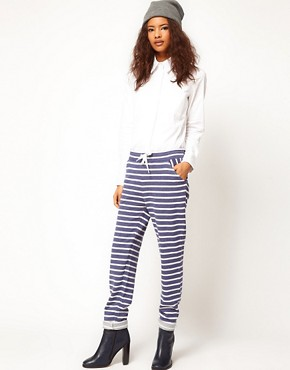 Image 1 ofASOS Joggers in Washed Stripe Sweat