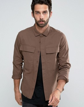 ASOS Cropped Overshirt In Brown With Oversized Pockets