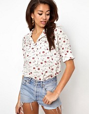 River Island Chelsea Girl Strawberry Print Shirt