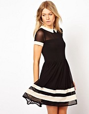 ASOS Skater Dress In Mesh With Contrast Detail And Short Sleeves