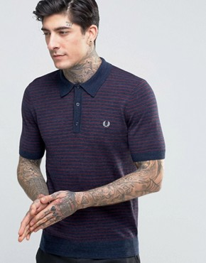 Fred Perry Knitted Polo Shirt With Stripe In Vintage Navy Marl