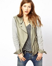 Denham Khaki Jacket With Removeable Sleeves