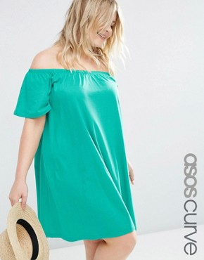 ASOS CURVE Boho Off Shoulder Dress