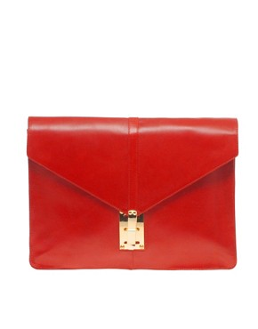 Image 1 ofASOS Leather Portfolio Clutch