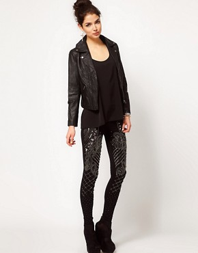 Image 1 ofASOS PREMIUM Leggings With Baroque Panel Embelishment