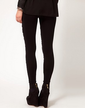 Image 2 ofASOS PREMIUM Leggings With Baroque Panel Embelishment