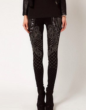 Image 4 ofASOS PREMIUM Leggings With Baroque Panel Embelishment