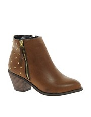 Blink Zip Detail Ankle Boot with Studded Heel