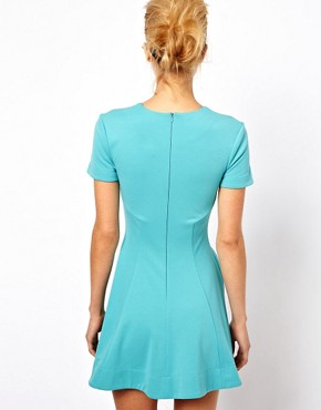 Image 2 ofASOS PETITE Exclusive Skater Dress With Ruch Detail