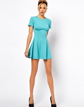 Image 4 ofASOS PETITE Exclusive Skater Dress With Ruch Detail