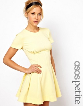 Image 1 ofASOS PETITE Exclusive Skater Dress With Ruch Detail