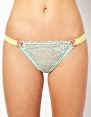 Mimi Holliday Woozie Lace &amp; Silk Satin Thong