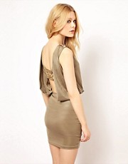 River Island Embellished And Open Back Slinky Dress