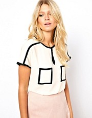 ASOS Top With Contrast Binding And Keyhole
