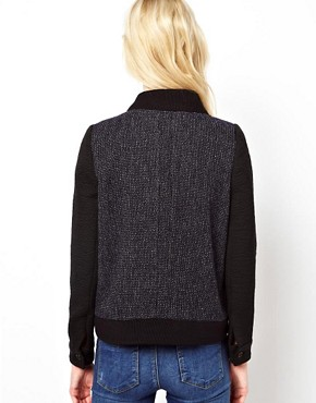 Image 2 ofBA&amp;SH Tweed Bomber Jacket with Contrast Sleeves