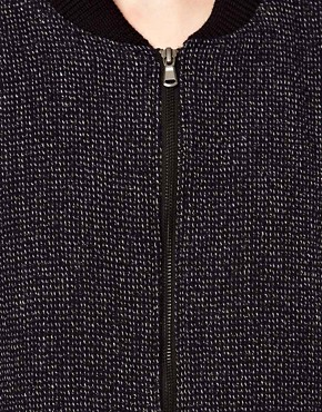 Image 3 ofBA&amp;SH Tweed Bomber Jacket with Contrast Sleeves