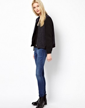 Image 4 ofBA&amp;SH Tweed Bomber Jacket with Contrast Sleeves