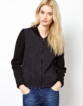 Image 1 ofBA&amp;SH Tweed Bomber Jacket with Contrast Sleeves