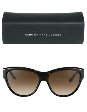 Image 2 ofMarc By Marc Jacobs Dark Havana Cat Eye Frame Sunglasses