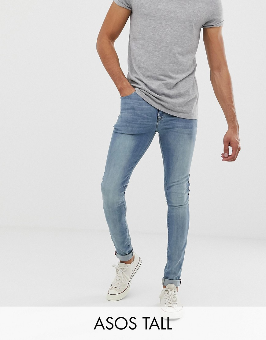 ASOS TALL Super Skinny Jeans In Light Wash - Light wash blue